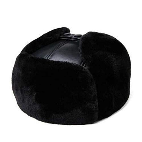 Nueva súper cálida Hombres Invierno Sombrero de Piel Gorra de Cuero Genuino Grueso Terciopelo Bombardero Sombreros Hombres Cuero de Vaca Orejeras Sombrero Gorras de esquí