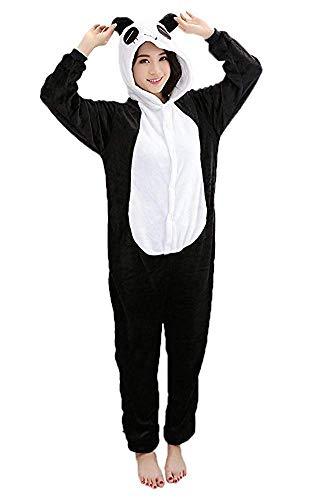 Mescara Pigiama Panda Cosplay Intero Unisex Costume Halloween Carnevale Festa Party Animale Sleepwear (S per Alto 148-158 cm, Nero)