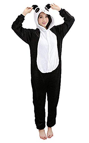Mescara Pigiama Panda Cosplay Intero Unisex Costume Halloween Carnevale Festa Party Animale Sleepwear (S per Alto 148-158 cm, Nero)