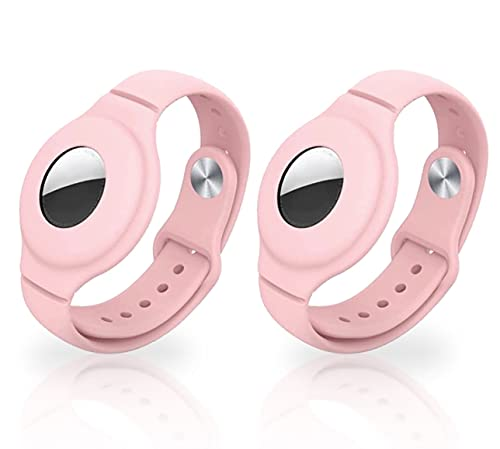Air Tag Wristband for Kids 2 Pack air tag Holder for Toddlers Wristband Kids Apple airtag Bracelet for Toddler Tracking Bracelet air tag Keychain GPS Wristband for Elderly (Pink & Pink)