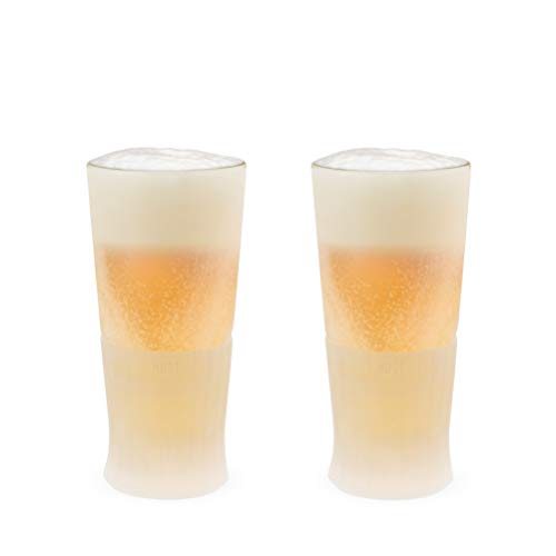 HOST Freeze Glass (Set of Two) Beer Chilling Drinkware, 16 oz, Clear