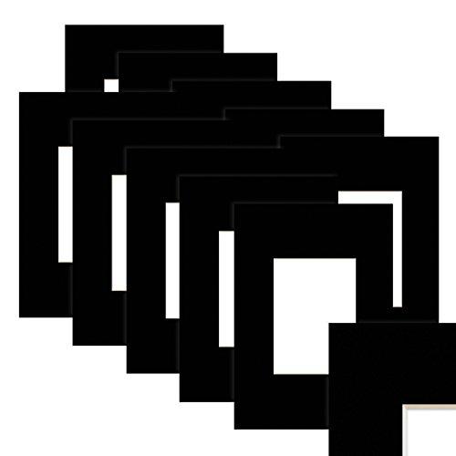 Photolini 10 Unidades de Papel paspartú en Color Negro 30x40 cm (20x30 cm)
