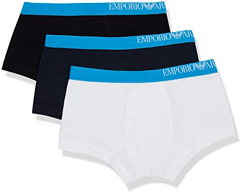 Emporio Armani Underwear Herren Multipack-B-Side Logo 3-Pack Trunk Herrenslip, Weiß (Bianco/Nero/Marine 56110), Medium (Herstellergröße:M)