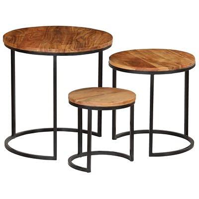 GOTOTOP Set de mesas de café, Mesa de Centro de Madera de Acacia y Acero, Mesa Baja Auxiliar para Almacenar, Vintage Industrial