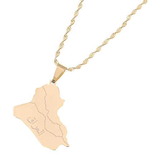 Kkoqmw Collar con Colgante de Mapa de Irak de Acero Inoxidable