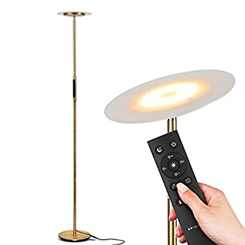 Brightech Sky Remote Control - Modern LED Torchiere Super Bright Floor Lamp - Contemporary High Lumen Light for Living Rooms & Offices - Dimmable Indoor Pole Uplight for Bedroom Reading - Black