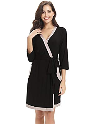 Hawiton Women Modal Bathrobe 3/4 Sleeve Sleepwear Lounge Nightgown Short