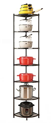 7-Tier Kitchen Pot Rack, Cookware Stand Storage Organizer ,Multi-Layer Corner Shelf Stand Stainless Steel Shelves for Kitchen