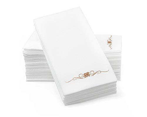 Gold Foil Stamped Airlaid Paper Dinner Napkins – 1/6 Fold 12'x17' Disposable Guest Hand Towels - Absorbent, Linen-Like Feel for Weddings, Receptions, Parties and Bathroom (Gold, 100 Count)