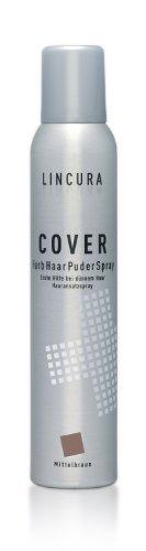 Lincura Haarverdichtungsspray - Cover Spray für optische Haarverdichtung bei Haarausfall - mittelbraun