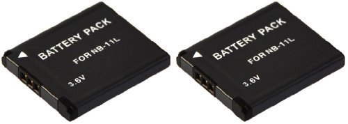 3in1-SET für die Canon IXUS 132 / 145 / 155 --- 2x Akku (baugleich Canon NB-11L) + PATONA Bildschirmpad
