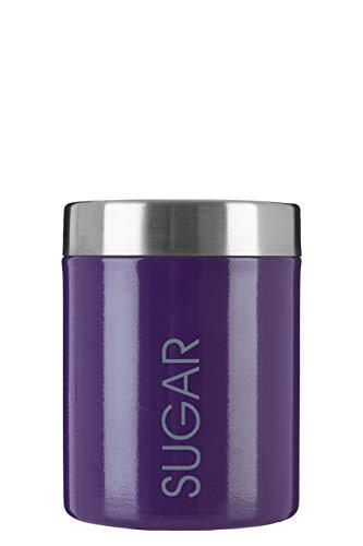 Premier Housewares 0508498 Boîte à Sucre en Émail Violet et Couvercle en Acier Inoxydable Satiné