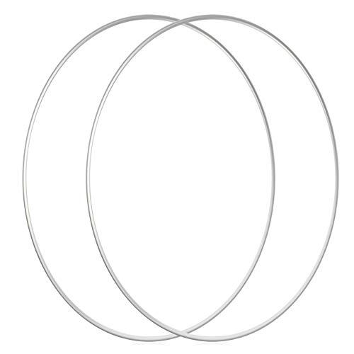 Sntieecr 2 Stück 35 cm Große Metall Floral Reifen Kranz Makramee Silber Reifen Ringe für Hochzeit Kranz Dekor, Traumfänger und Makramee Wandbehang Handwerk