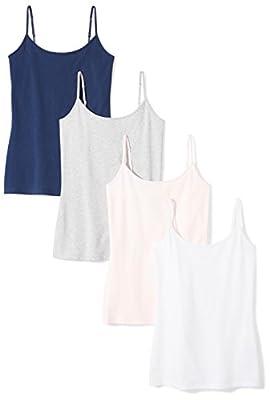 Amazon Essentials Women's 4-Pack Slim-Fit Camisole, Navy/Light Pink/White/Light Grey Heather, Medium