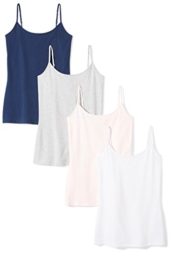 Amazon Essentials 4-Pack Camisole tank-top-and-cami-shirts, Navy Pink/White/Light Grey Heather, US L (EU L - XL)