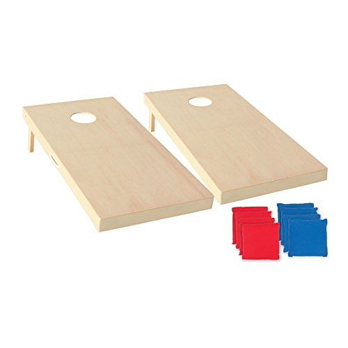 Triumph Sports 2x4 and 2x3 Solid Wood Premium Cornhole Sets - LED Options Available - 8 Bean Bag Toss Bags and Cornhole Boards Included