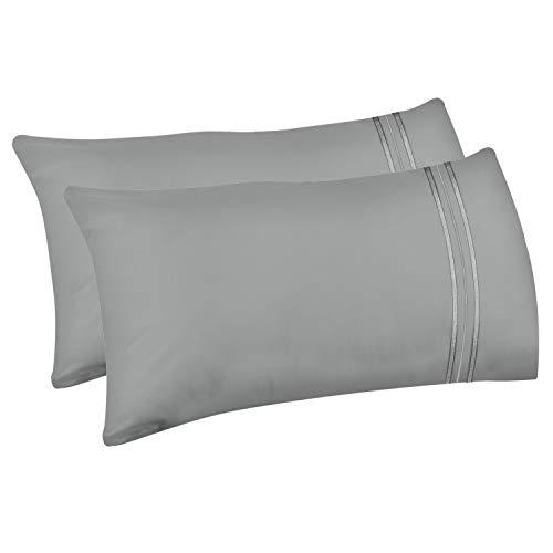Lirex 2-Pack Fundas de Almohada, Tamaño 50 cm x 66 cm Fundas de Almohada de Microfibra Suave Cepillada, Transpirables sin Arrugas y Lavables a Máquina (Gris, Standard)