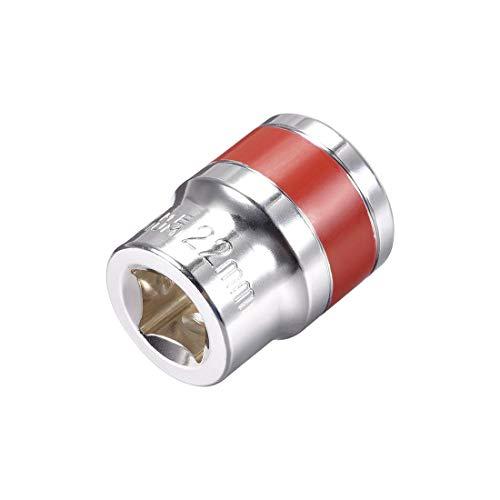 DyniLao 1/2-Inch Drive by 22mm Shallow Socket con banda roja, Cr-V, 6 puntos, Métrico