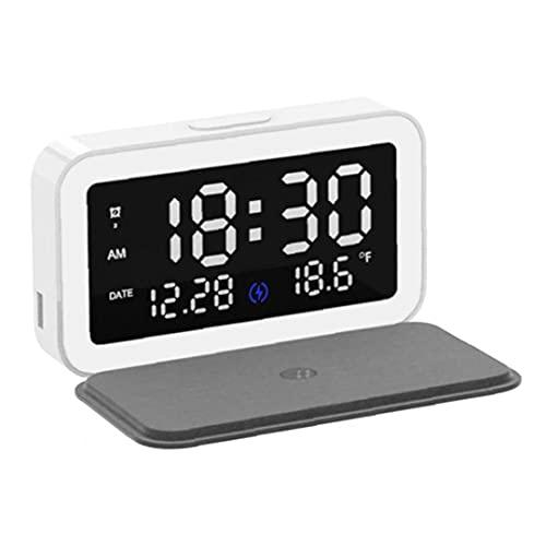 Väckarklockor sängbord huvuddriven trådlös laddning multifunktionell sovrum väckarklocka väckarklocka sängbord vit