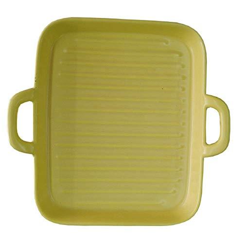 WQF Plateau de Cuisson en céramique Plat de Cuisson carré binaural en céramique à Deux pièces, Plat de Cuisson à Base de Riz cuit au Four, moules à gâteaux à Salade créatifs (Couleur: