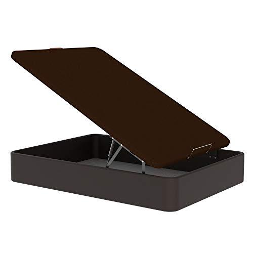 TOPDORMITORIOS - CANAPE Polipiel Eco Gran Capacidad con Subida Gratuita - Polipiel Dark Brown Chocolate, 150 x 190 cm.
