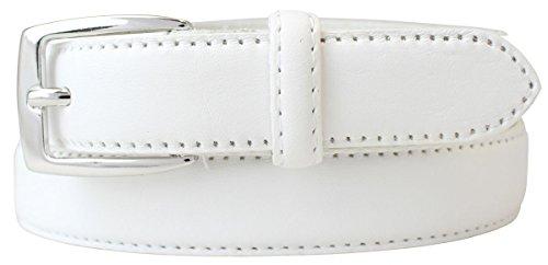Hochwertiger Damengürtel aus Vollrindleder 2,5 cm | Schmaler Damen-Gürtel in 25mm | Bombierter Ledergürtel | Weiß 105cm