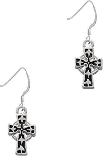 Antiqued Celtic Cross - French Earrings