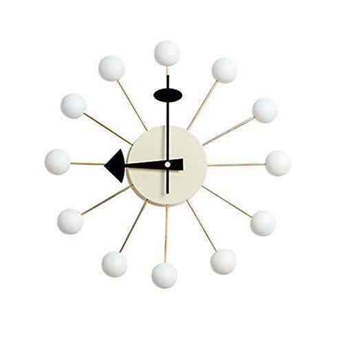 Angel&H Wanduhr, 13 Zoll Multi Weiße Holz Candy Ball Uhr, Mode Wohnzimmer Nach Hause Quarzuhr Dekoration