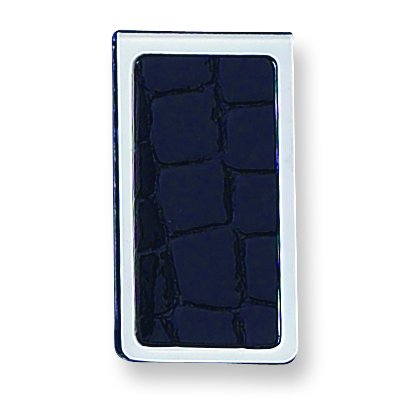 Diamond2Deal Silver-Tone Coccodrillo Texture Nero in Similpelle fermasoldi Incisione