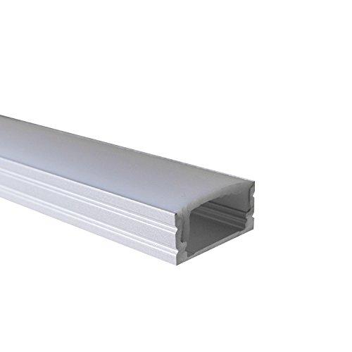 OPAL - 200 cm LED Aluminium Profil AUFPUTZ-KL + 200 cm weiß milchige Abdeckung für LED-Streifen 2m Alu Profile Leisten von Alumino®