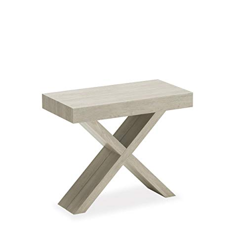 arredinitaly Lys – Console Extensible 90 x 45 cm. devient un solide Table extensible de 195 cm. (chêne gris à fines rayures)
