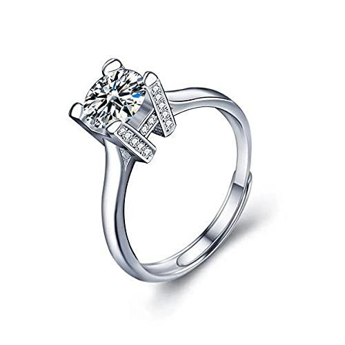 Anello europeo e americano 1 carati moissanite da donna in argento Sterling 925 semplice a quattro artigli lettera aperto diamante anello nuziale anello regolabile