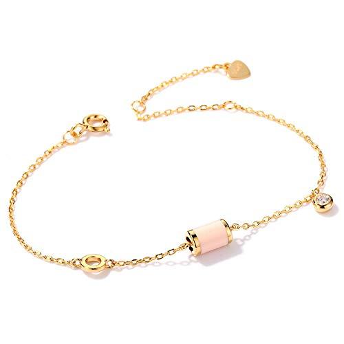 N/A Frauen Armband 925 Sterling Silber Simple Fashion Drip Pink Öl Weiß Zirkonium vergoldetes Armband Sleeping Magic Bracelet