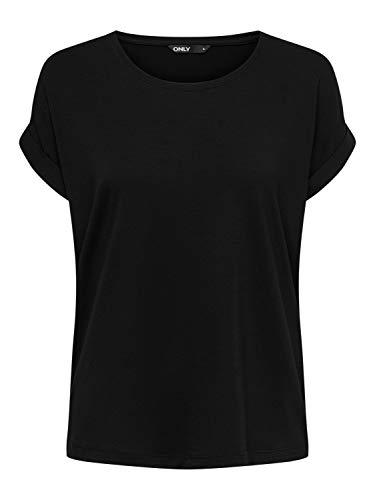 ONLY Damen T-Shirt onlMOSTER S/S O-Neck TOP NOOS JRS, Schwarz (Black Detail: Solid Black), 40 (Herstellergröße: L)