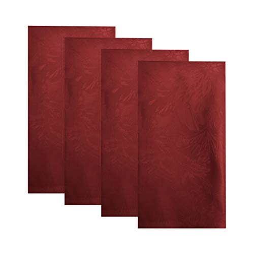 Elrene Home Fashions Poinsettia Elegance Jacquard Holiday Cloth Dinner Napkins Set of 4, 17' x 17', Red 4 Count
