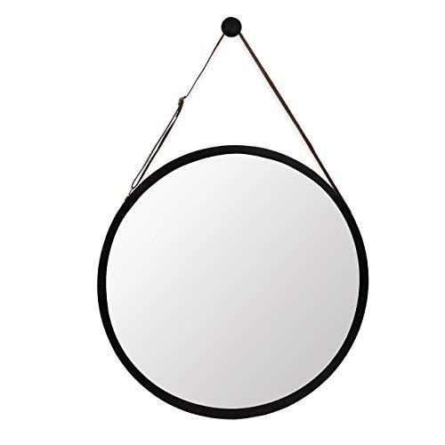 Wandspiegel, r&, schwarzer Rahmen aus Bambus, 43,2 cm & verstellbarer Lederriemen, Schwarz