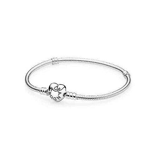 Pandora Moments - Bracciale con maglia snake e chiusura a cuore in in Argento Sterling, Gioiello da polso, 18 cm
