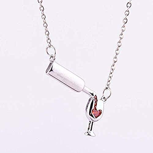 AOAOTOTQ Co.,ltd Collar Simple con Colgante de Copa de Vino para Mujer, corazón, Cristal, Cristal Rojo, circón, Colgante, joyería, Regalos
