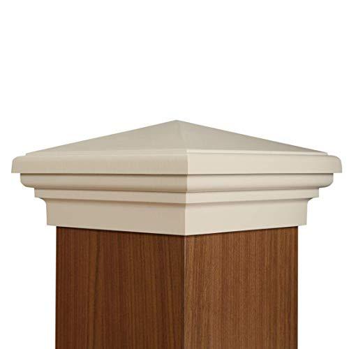 ATLANTA POST CAPS 6x6 Post Cap   White New England Pyramid Style Square Top for Outdoor Fences, Mailboxes & Decks