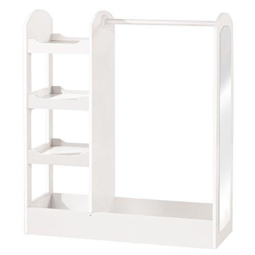 Roba Garderobe, kindermeubel met kledingrek, kledingstang & grote spiegel; wit gelakt hout, staande garderobe voor kinderen