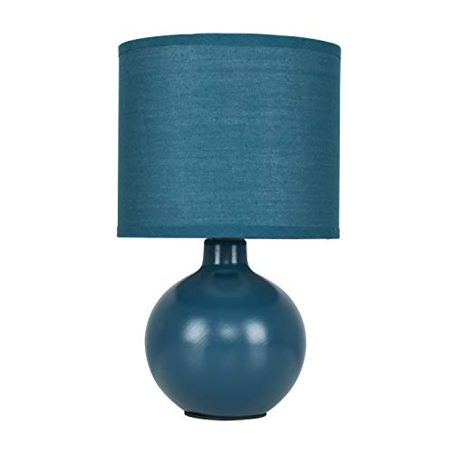 Modern Navy Blue Ceramic Round Table Lamp with a Matching Fabric Shade