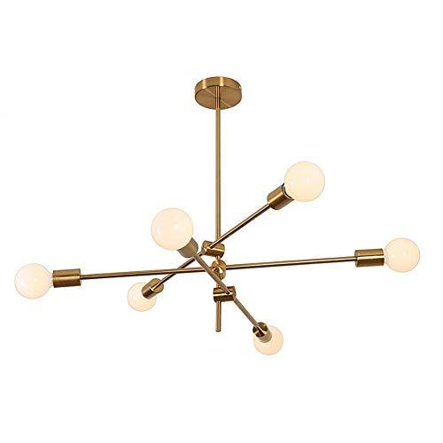 MYKMY-LIGHTING Sputnik Chandelier Moderno Lámpara de Techo de 6 Cabezales Lámpara de Techo Lámpara Colgante Montaje al RAS para comedores Salón Dormitorio Café Acabado en Oro