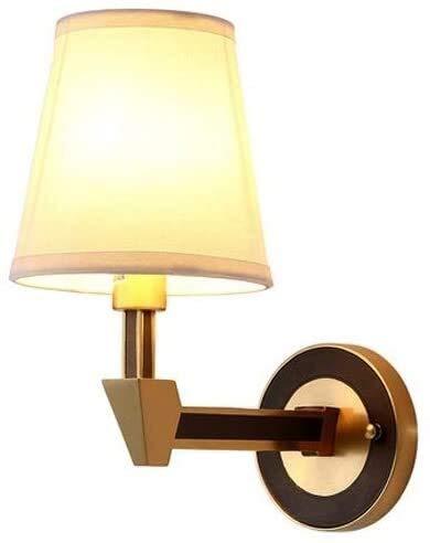 MUZIDP Todas la lámpara de Pared LED de Cobre Lámpara de Pared Americana País Simple Sala de Estar Fondo Lámpara de Pared E14 Fuente de luz Dormitorio Caliente Lámpara de Cama Frote Negro Oro Lámpara