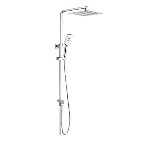GRIFEMA Edithedge - Columna ducha sin grifo, sistema de ducha cuadrado con alcachofa, rociador 25x25 cm, manguera y soporte, Cromo