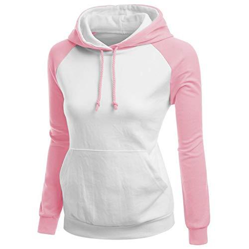 Deloito Herbst Hoodie Sweatshirt Damen Mode Sweatjacke Einfarbig Nähen Kapuzenpullover Langarm Pulli mit Kapuzen Bluse Oberteile (Rosa,Large)