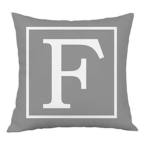 Hangood Alphabet Letter F Cushion Cover 18x18 Soft Plush Throw Pillow Covers 45cm x 45cm F