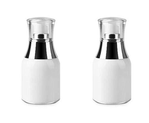 Upstore 2 pcs Acrylique Blanc Airless Pompe à vide pour bouteilles bocaux Maquillage Crème contour des yeux Lotion Émulsion produits de toilette liquide de stockage de conteneurs, blanc, 30ml/1oz