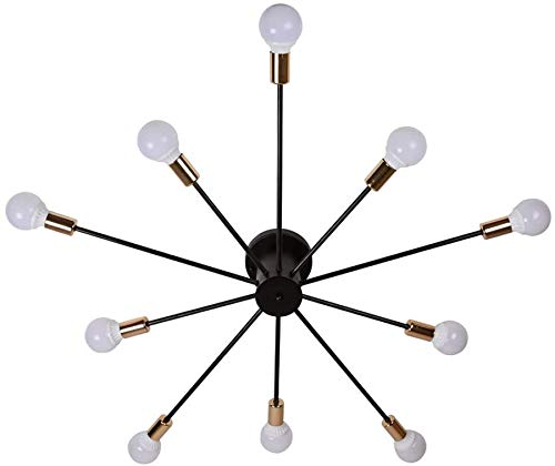 YANQING Duurzame Plafondlampen Moderne Creatieve Spider Plafond Licht, Plafond Lamp voor Slaapkamer Woonkamer Studie Kamer, Zwart Metallic Plafond Licht Kroonluchter (E27) Plafond Lichten