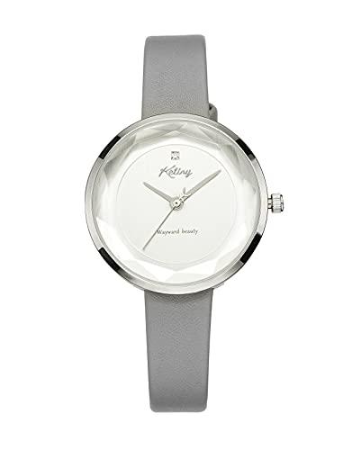 Relojes Mujer Elegante Analógico Reloj de Pulsera Mujer Resistente al Agua Minimalista Reloj de Vestir para Mujer (Gris Cuero)