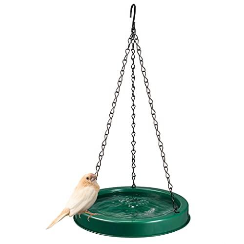 Plastic Bird Bath Tray & Feeder 20 oz Capacity - Hanging Bird Baths for Outdoors & Indoors, Bird Water Feeder with Circular Perch - Small Bird Bath 8-Inch Round Design and Lightweight (Green)